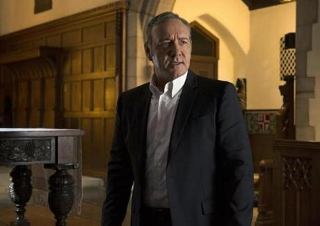 "In this image released by Netflix, Kevin Spacey appears in a scene from ""House of Cards."" Spacey was nominated for an Emmy Award for outstanding lead actor in a drama series for his role on the show on Thursday, July 16, 2015. The 67th Annual Primetime Emmy Awards will take place on Sept. 20, 2015. (David Giesbrecht/Netflix via AP)"